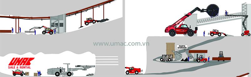 Các loại xe nâng trong ngành mỏ - khoáng sản chuyên dụng